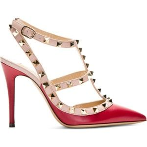 WILD DIVA ADORA RED STUDDED T-STRAP POINTED Heels